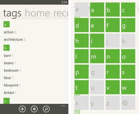 Evernote 3.0 para Windows Phone, etiquetas