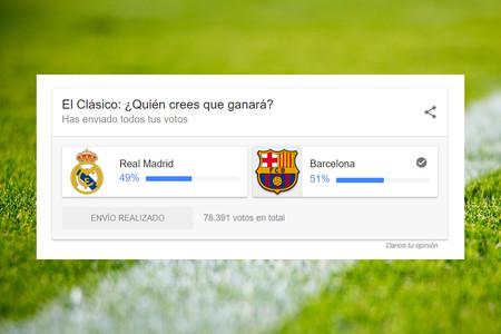 Llegan las encuestas a los resultados de Google con el clásico Real Madrid-Barcelona