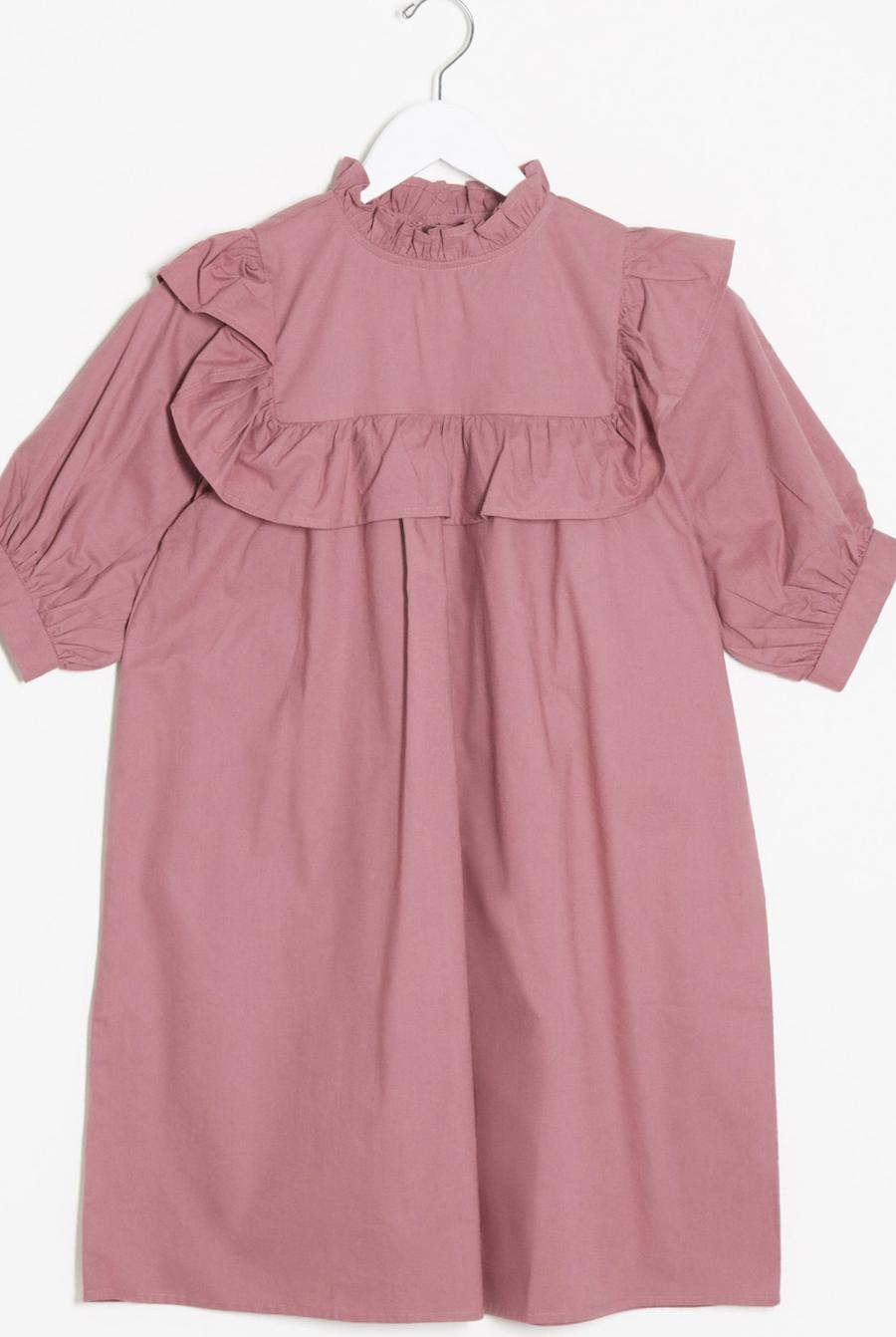 Vestido amplio con detalle de volantes en rosa sombra de Influence