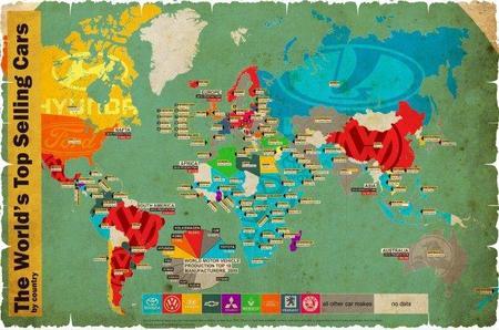 El mapamundi de los coches más vendidos por país