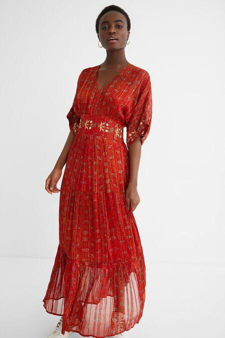 Vestido Largo Etnico Rojo Desigual