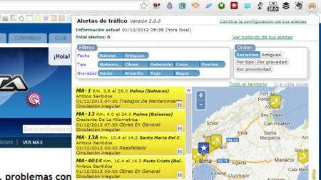 Alertas Tráfico, extensión para Chrome para conocer las incidencias en las carreteras