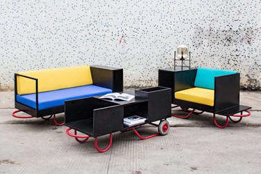Muebles modulares inspirados en carretillas de mano