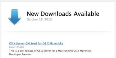 Apple lanza la versión Golden Master de OS X Server para Mavericks