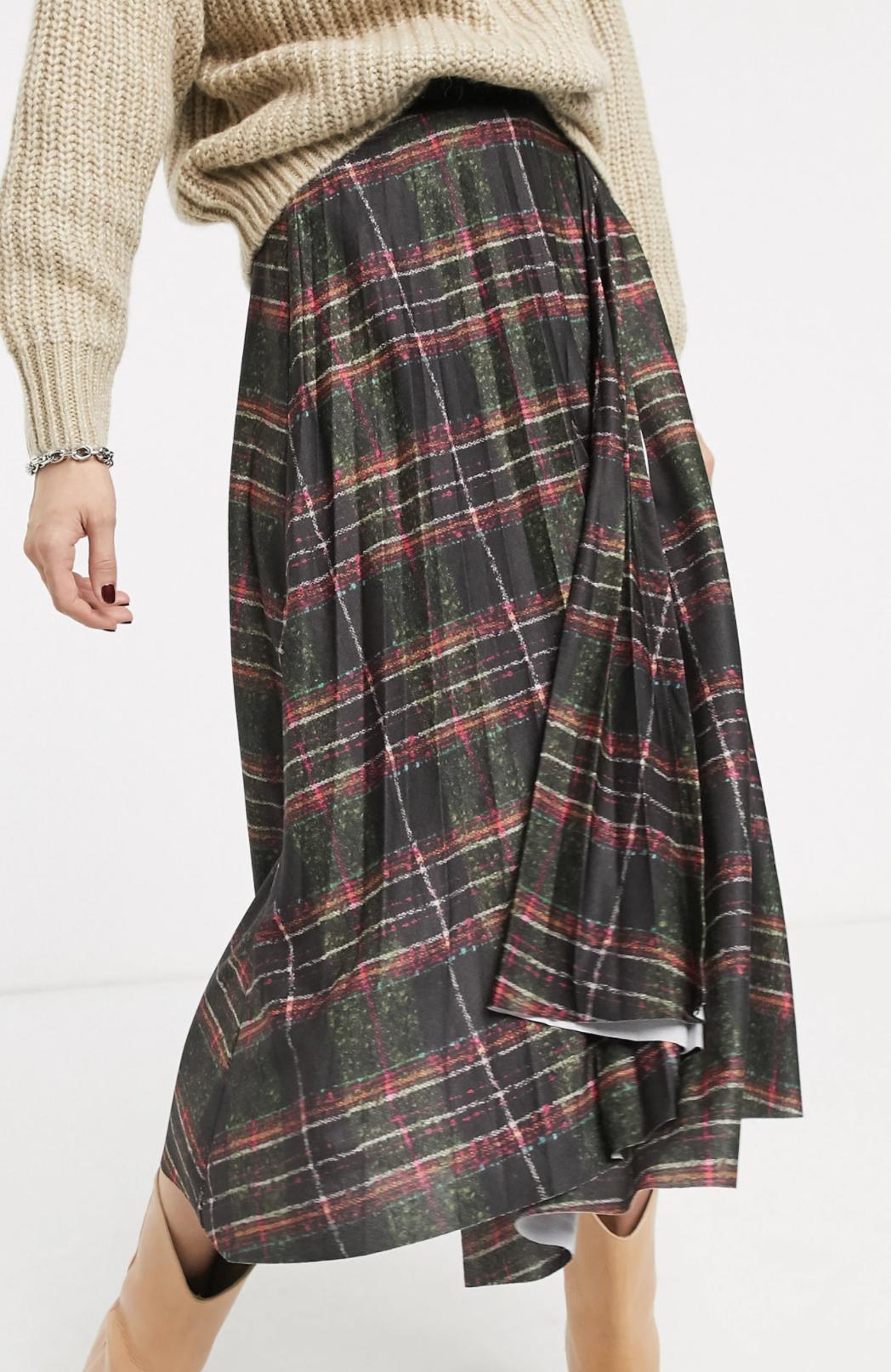 Falda midi con diseño cruzado y plisado y estampado de cuadros de ASOS DESIGN
