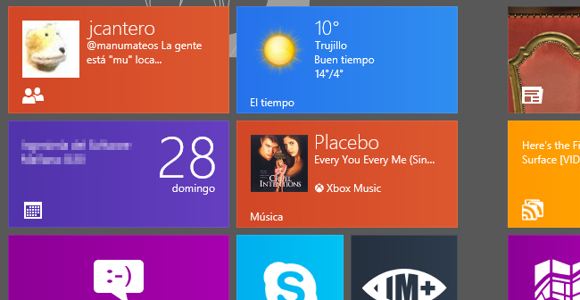 Live tiles de Windows 8