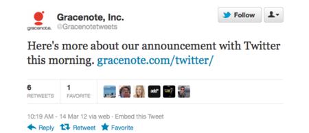 Twitter y Gracenote anuncian alianza