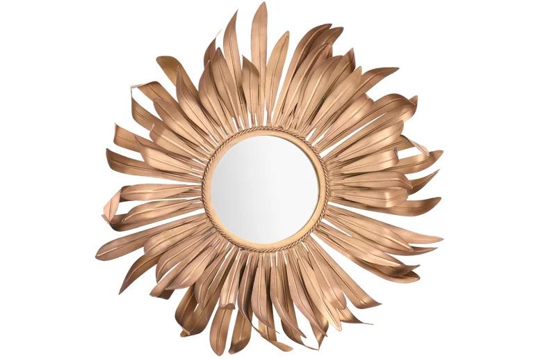 Espejo redondo Flor roble claro 65 x 65 cm