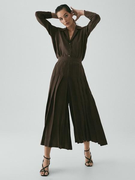 Pantalon Culotte Plisado Cupro Limited Edition