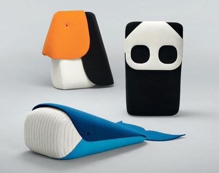 Muebles blanditos con formas de animales