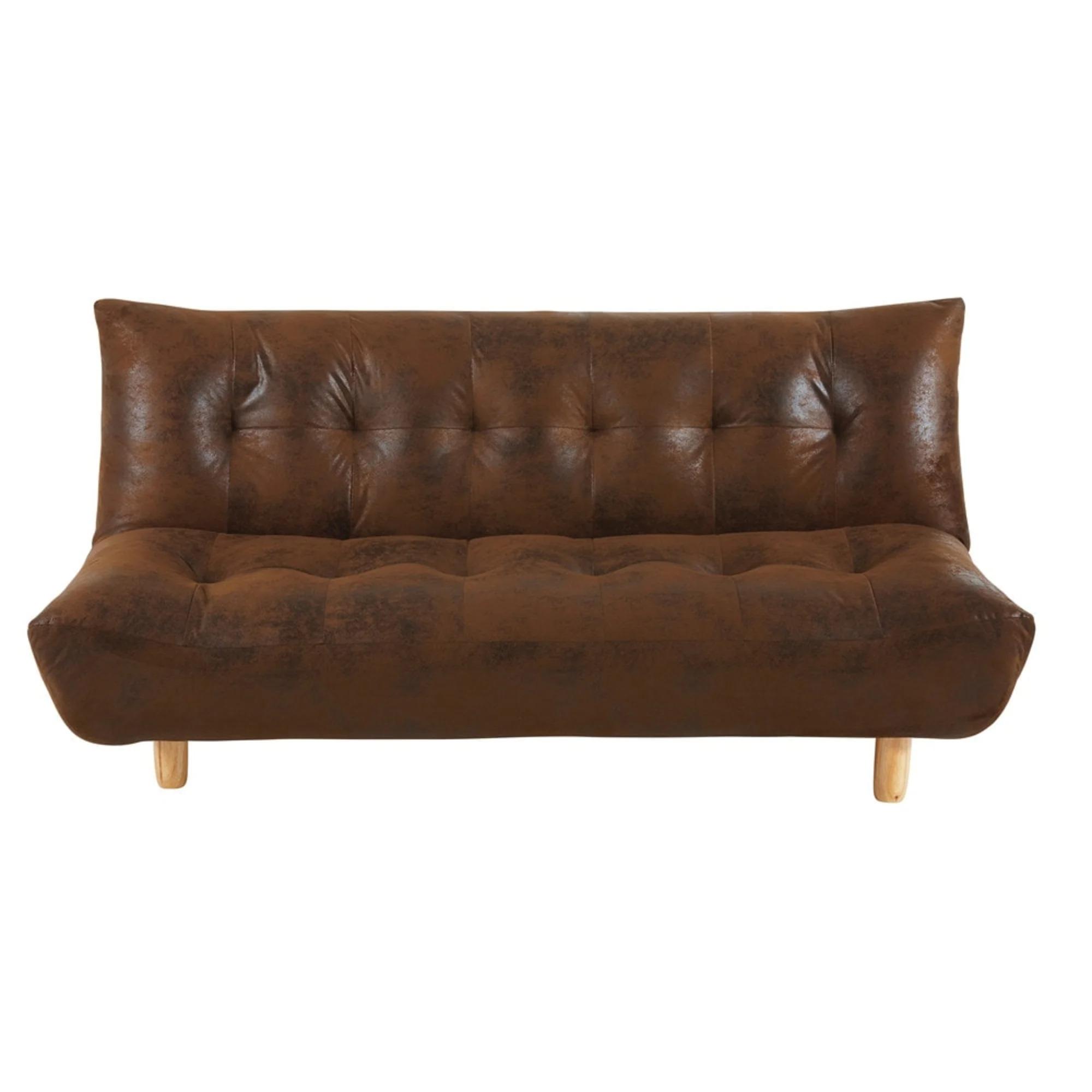 Sofá cama de 3 plazas de microgamuza marrón