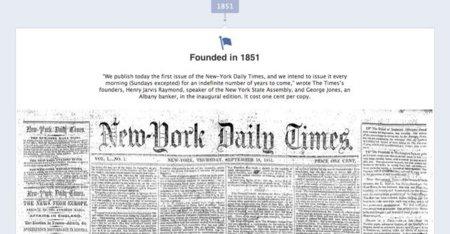 El New York Times exhibe  su historia en el Timeline de Facebook