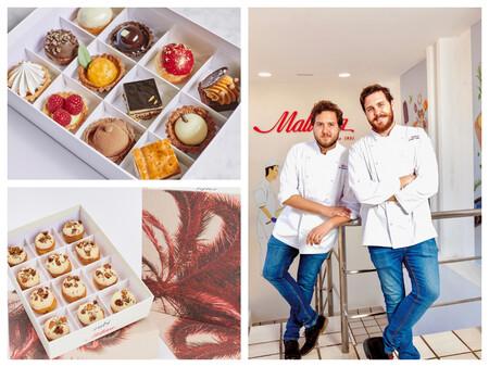 Arriba a la izquierda, surtido de pasteles; abajo a la izquierda, éclair de praliné de anacardo, anacardo garrapiñado y comino. A la derecha, Pablo Moreno (izq) y Jacobo Moreno (dcha), chefs de panadería y pastelería de Mallorca, respectivamente.