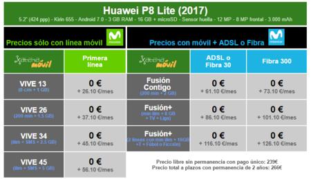 Precios Huawei P8 Lite 2017 Con Tarifas Movistar