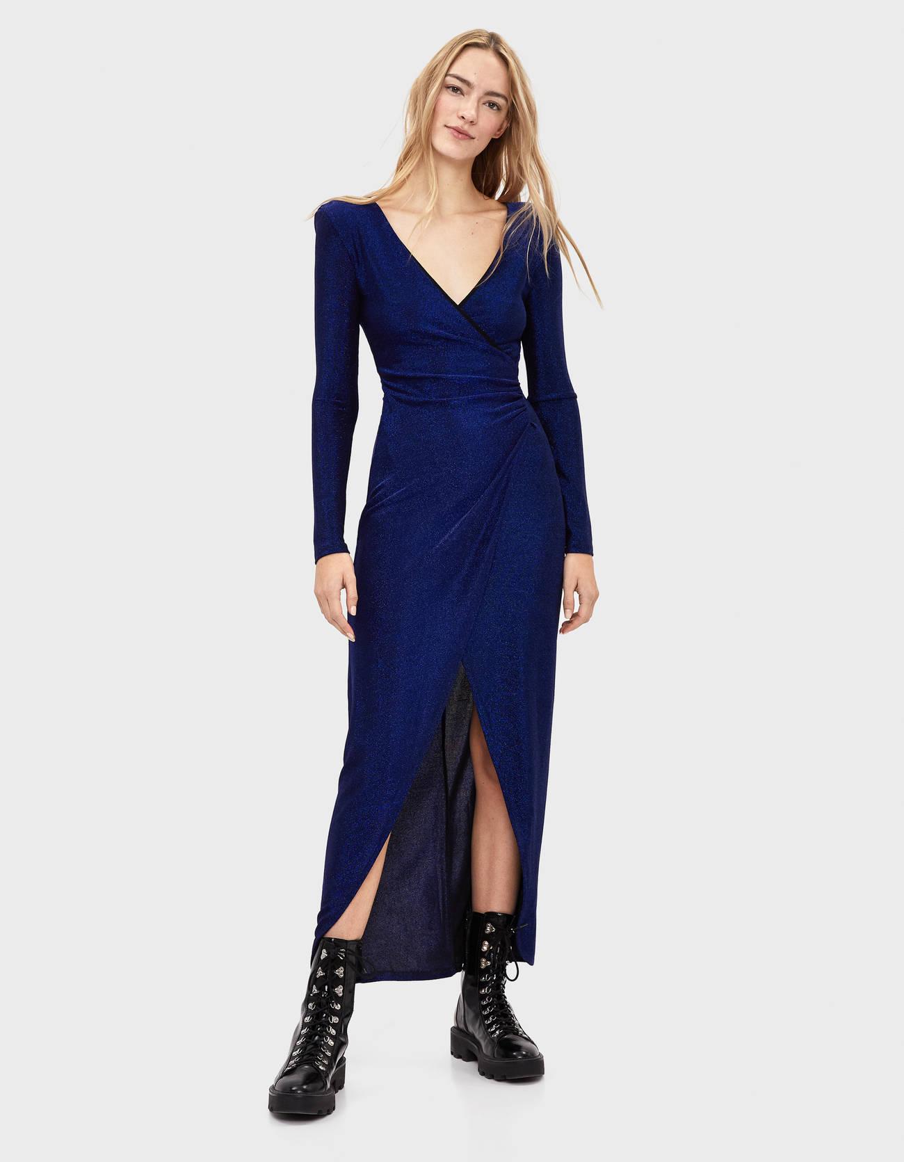 Vestido azul de fiesta de largo midi cruzado