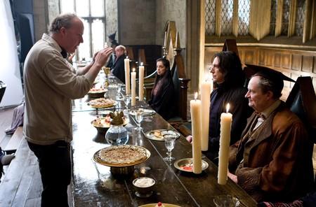 David Yates, Alan Rickman y Jim Broadbent en el rodaje del Misterio del Príncipe