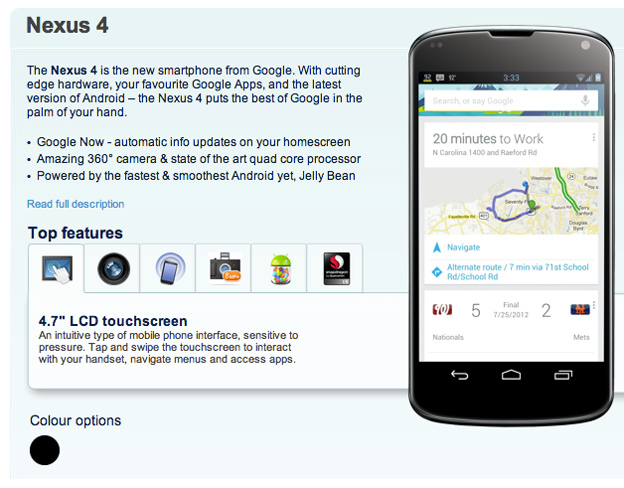 Nexus 4 en Carphone Warehouse