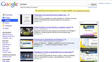 Google incluye previsualizaciones de vídeos en los resultados de búsqueda