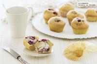 Muffins de frambuesas y corazón de mascarpone. Receta