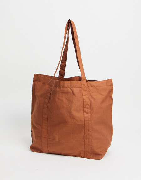 Asos Design Oversized Tote Bag In Tobacco Organic Cotton