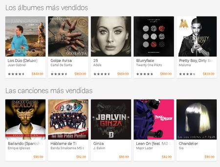 Albumes Canciones Mas Vendidos Google Play Mexico