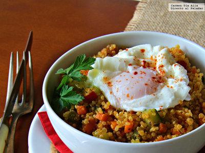 Bowl de quinoa, verduritas y huevo: receta sin grasas