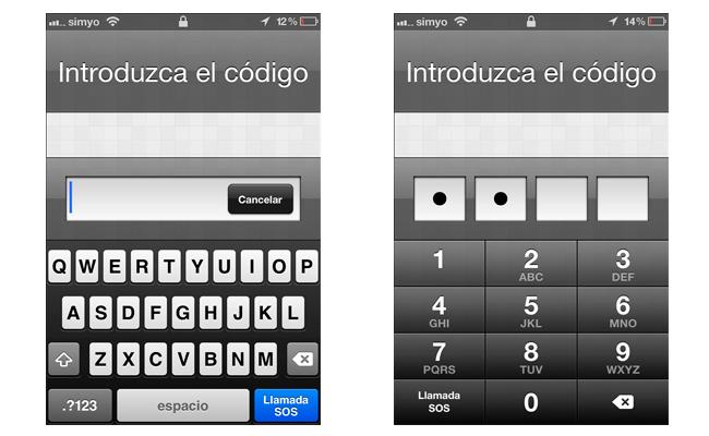 Código de bloqueo para acceder a iOS