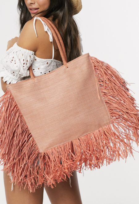 Bolso Tote De Paja Con Bordes De Flecos En Naranja Exclusivo De South Beach
