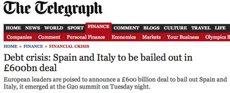 España necesitará un segundo rescate, según The Telegraph