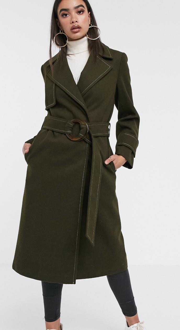 Abrigo caqui con cinturón y detalle de pespuntes de ASOS DESIGN