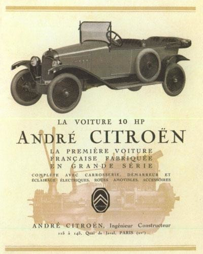 Citroen 10 Hp Type A Torpedo 1919 Publicite Portrait