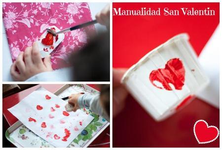 Sellos de goma con formas de corazones por San Valentín, hazlo tú mismo