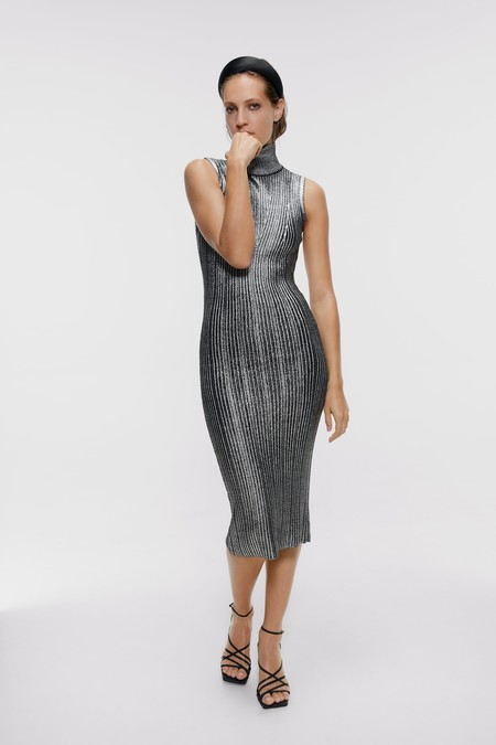 Vestido Plateado Zara 8