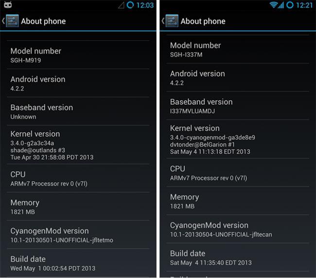 CyanogenMod 10.1 en el Galaxy S4