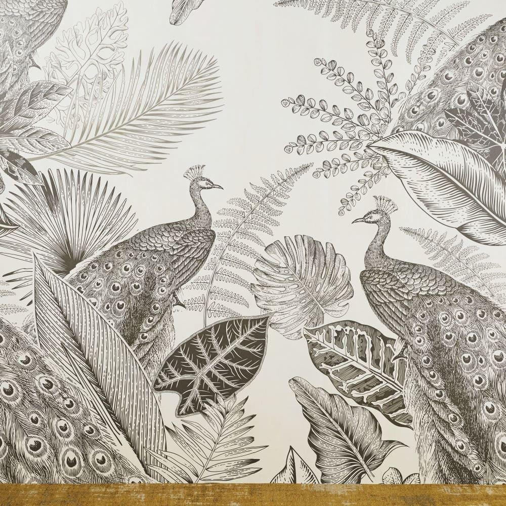 PAONA.- Papel pintado no tejido con estampado de pavos reales 192x300 cms