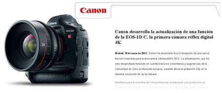 Canon EOS-1D C, ahora con grabación 4K a 25fps mediante actualización de firmware