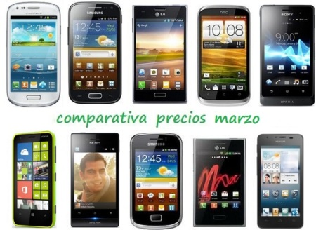 Comparativa Precios Smartphones más baratos Marzo 2013