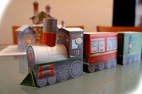 El tren de los elfos de Papá Noel para imprimir y montar