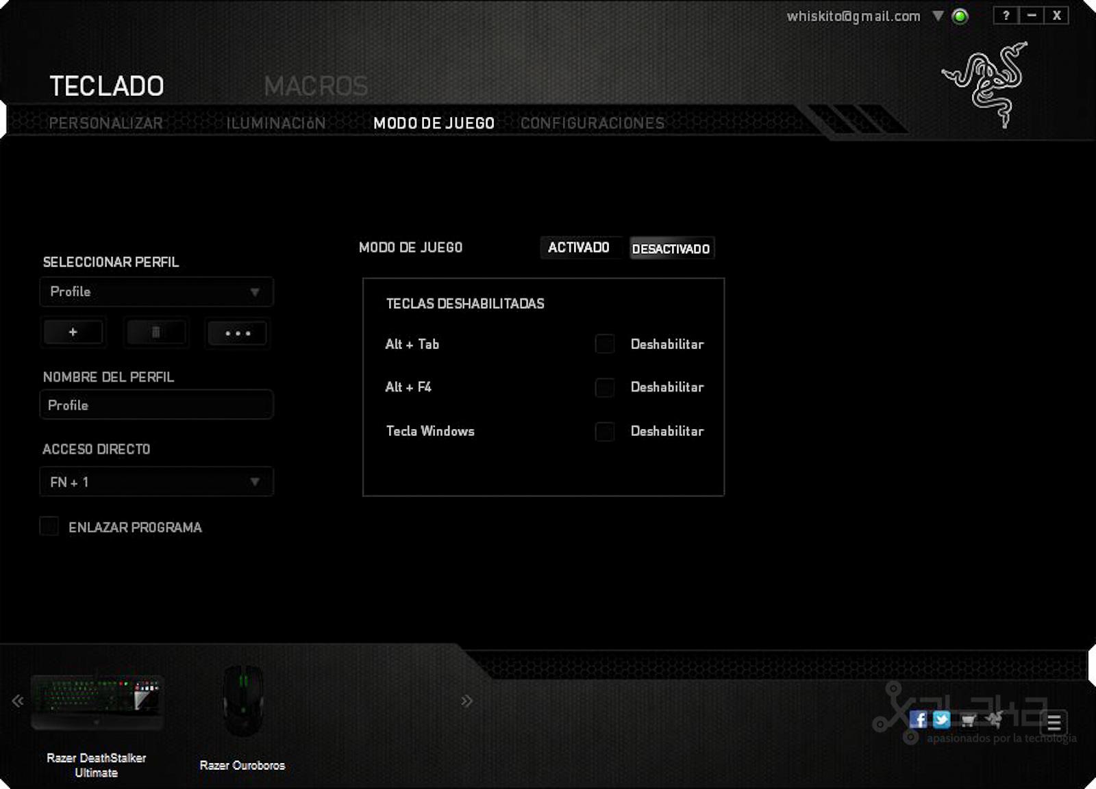 Razer Synapse 2.0 en el DeathStalker Ultimate