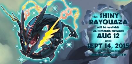 Consigue al poderoso y legendario Rayquaza Shiny