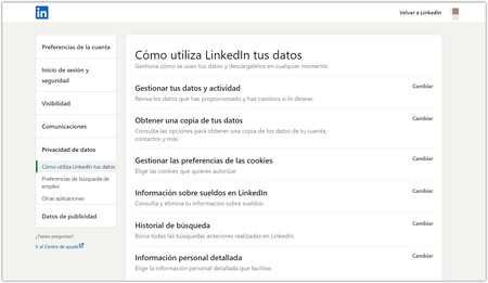 LinkedIn settings page
