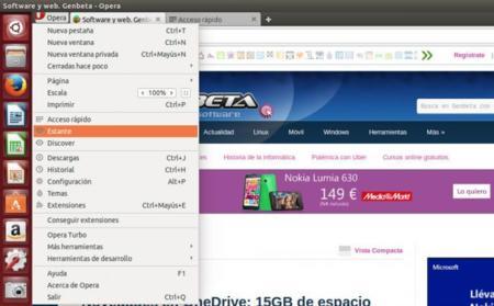 Opera Developer 24.0 para GNU/Linux, menú principal