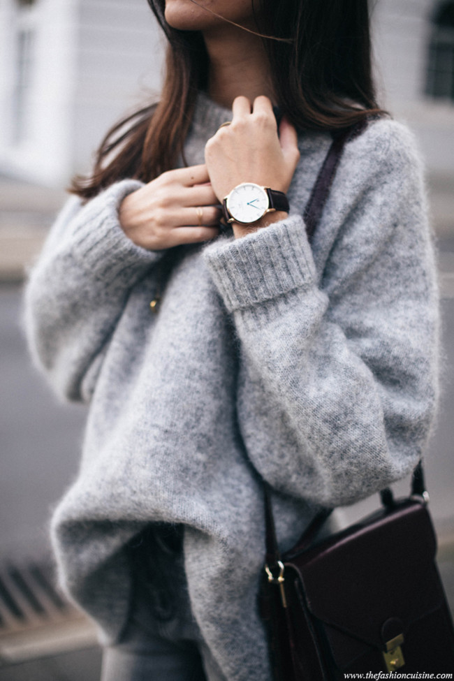 Hm Trend Mohair Blend Grey Oversized Sweater Daniel Wellington Dapper Rose Gold Watch Blogger Outfit Details