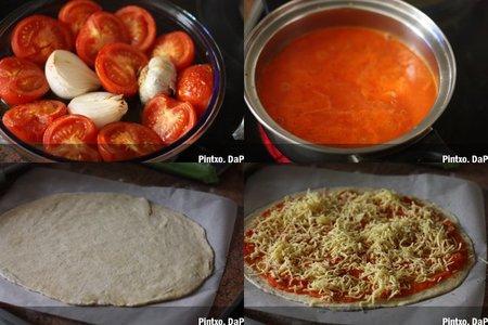 Pizza de tomates asados. Pasos