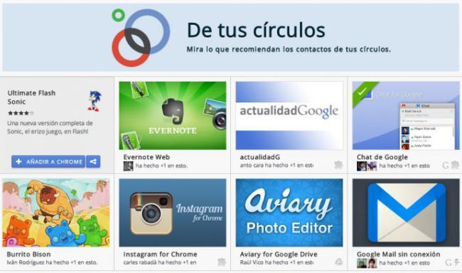 Nueva sección De tus círculos en Chrome Web Store.