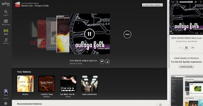 Spotify Web Player: Radio