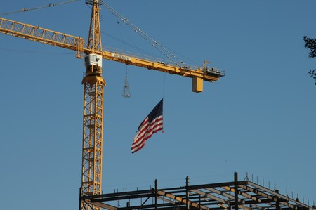American Flag At Construction Site