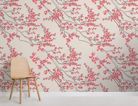 Papel Pintado Con Motivo De Rama De Flores De Cerezo Japonesas Chair
