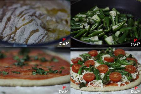 Elaboración de la pizza de tomates cherry y pimientos de Padrón