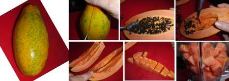 Preparación del salmorejo de papaya con jamón y huevo